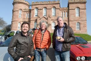 The presenter spent last week filming in Scotland with colleagues Richard Hammond and James May for their Amazon Prime series The Grand Tour. Picture: SWNS