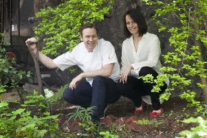 Scott and Laura Smith in the kitchen garden of soon to be opened restaurant, Fhior