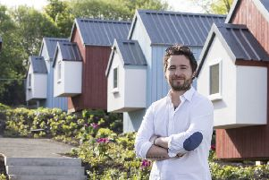 Josh Littlejohn, Social Bite co-founder, in front of the NestHouses at the Social Bite Village. Picture: PA