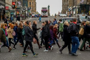 Christmas shoppers on Princes St