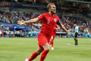 Harry Kane celebrates scoring England's winning goal on Monday night against Tunisia. Picture: PA