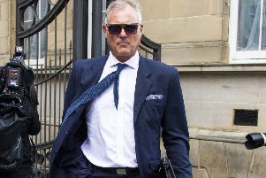 Former Blue Peter presenter John Leslie's arrives at Edinburgh Sheriff Court over an alleged sexual assault. Picture: SWNS