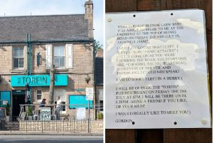 Posters hung by lovestruck Scot in pub to trace mystery love interest