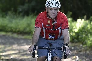 Organiser George Stewart  rides the course before the big day. Picture: Neil Hanna