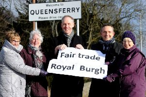 Janette McIvor, Jennifer Garner, Gwenneth Williamson are all members of South Queensferry Fair Trade group , councillor Kevin Lang and Alex Cole-Hamilton MSP' are all backing the signs.