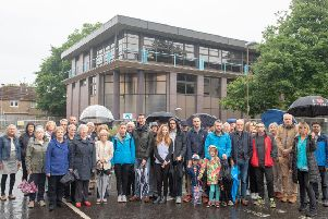Residents of 'Pinkhill gather to protest the Corstorphine development.
