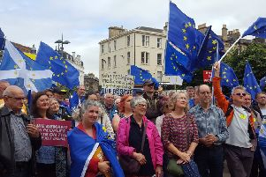 Hundreds of campaigners have attended a rally in Festival Square, Edinburgh as they stepped up demands for a public vote on the final Brexit deal. Picture; PA