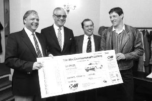 From left, Edinburgh businessman Wallace Mercer, former Lord Provost Kenneth Borthwick, Alan Grosset and athlete Allan Wells launch the MacCommonwealth Lottery, a fundraiser for the Commonwealth Games 1986. Picture: Alan Ledgerwood