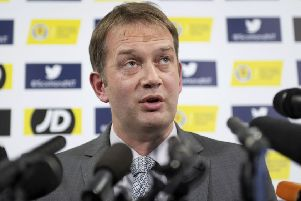 SFA chief executive Ian Maxwell faces the media after announcing the decision to stay at Hampden