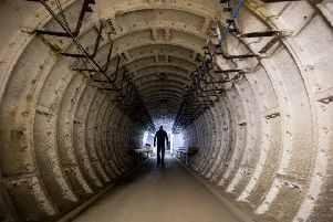 Entrance tunnel at Barnton Nuclear Bunker. Pic: SWNS