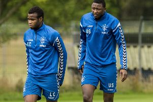 Lassana Coulibaly (left) with Umar Sadiq at a Rangers training session. Picture: SNS Group