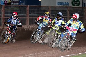 Kyle Bickley, William Lawson, Mason Campton and Richie Worrall in action at Workington. Picture: Ron MacNeill