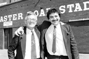 New Hibs chairman David Duff and Kenny Waugh at Easter Road in August 1987.