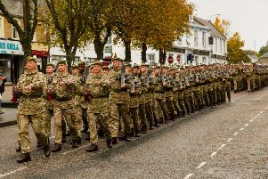 2SCOTS homecoming parade. The regiment paraded through four streets in Penicuik after a 6 month tour of Iraq, South Sudan and Cyprus.