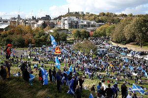 Pro-independence supporters march through Edinburgh, during the All Under One Banner march. Picture: Jane Barlow/PA Wire.