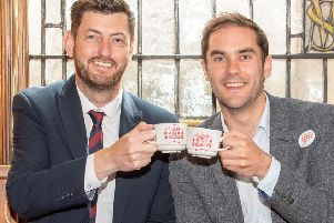 All smiles: But Cammy Day and Adam McVey may struggle to contain outbreak of coalition infighting (Picture: Ian Georgeson)