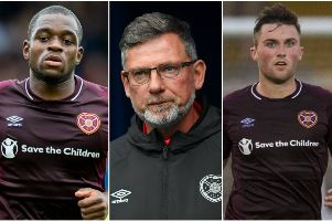Craig Levein (centre) has been dealt a blow with the long-term loss of Ikpeazu, left, and Souttar. Pictures: SNS Group