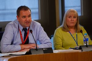 Neil Findlay MSP and Elaine Holmes, who has had a mesh implant, give evidence at the inquiry. Picture: Scott Louden