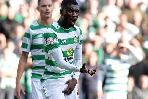 Eboue Kouassi reacts during the Betfred Cup semi-final clash. Picture: Getty Images