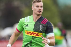 James Lang in action for Harlequins in a pre-season friendly against Glasgow Warriors. Picture: SNS Group