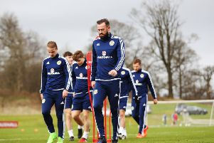 Steven Fletcher takes part in a Scotland training session during a previous call-up. Picture: Getty Images