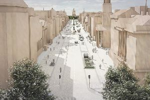 The artist's impression of George Street gives the appearance of a vacant, empty thoroughfare
