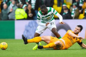 Odsonne Edouard is foiled by Craig Halkett as Livingston and Celtic played out an entertaining goalless draw in West Lothian. Picture: SNS Group