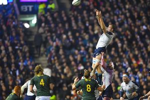 Scotland's Jonny Gray clutches the line-out ball. Pic: SNS/SRU/Gary Hutchison