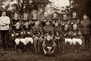 The McCrae's Battalion football team pictured in 1915.