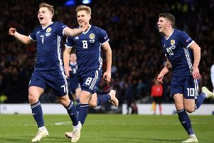 James Forrest celebrates scoring his second goal of the evening as Scotland defeated Israel 3-2 at Hampden. Picture: PA