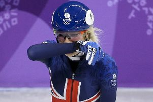 Elise Christie of Great Britain cries after crashing during the Ladies' 500m Short Track Speed Skating final on day four of the PyeongChang 2018 Winter Olympic Games in South Korea. Pic: Jean Catuffe/Getty Images