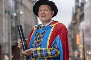 GCU Honorary Graduate Doddie Weir receiving the Awards of Honorary Degree of Doctor of Science.. Picture: Peter Devlin
