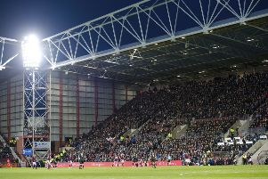 Fans in the Lower Section N in the Tynecastle Main Stand have been warned over standing. Picture: SNS/Alan Harvey