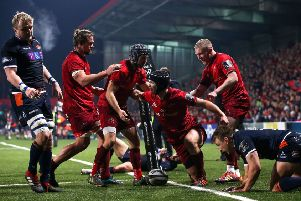 Munster's Tyler Bleyendaal celebrates scoring a try with Duncan Williams, Arno Botha and Keith Earls. Picture: Tommy Dickson/INPHO/REX/Shutterstock (10010372av)