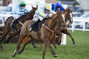 Smart Ruler (centre) competing in the Neville Porter - Musselburgh's No1 Bookmaker Handicap Hurdle Race.