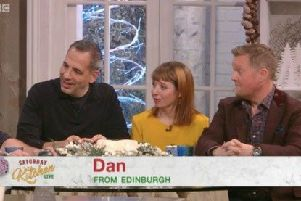 The guests reacting to 'Dan.' Picture: BBC