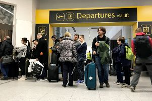 Passenger chaos at Gatwick Airport, which is closed today after one or more drones were deliberately flown over the runway. Picture: SWNS