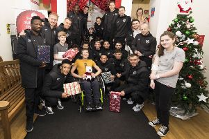 The Hearts squad paid a visit to the Royal Hospital for Sick Children in Edinburgh to gift presents