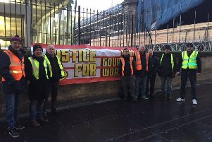 Rail Gourmet workers pictured on stirke in Edinburgh. Picture: RMT Union