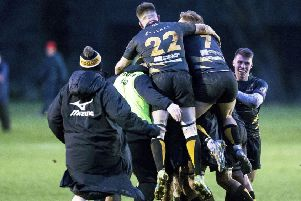The Currie players celebrate their last minute winning drop goal from Gregor Hunter. Picture: SNS Group/ SRU Bruce White