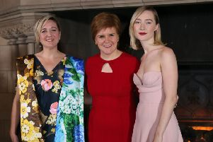 Director Josie Rourke, Nicola Sturgeon and Mary Queen of Scots actress Saoirse Ronan. Picture: Jane Barlow