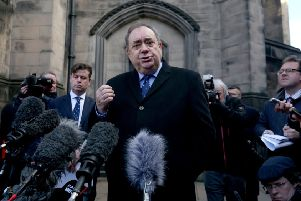 Alex Salmond faces the media after last week's Court of Session hearing. Picture: Jane Barlow/PA