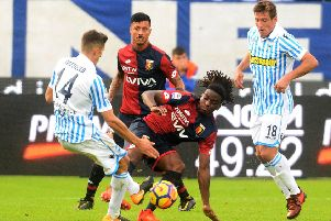 Stephane Omeonga in the thick of the action for Genoa against S.P.A.L. in a Serie A clash. Picture: Getty Images