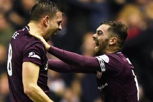 Olly Lee, left, celebrates his derby goal with Ben Garuccio at Easter Road