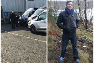 Police scour the van (left) for clues following the death of Craig Bruce (right)