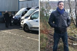 Police check a van (left) for clues following the death of Craig Bruce (right). Picture: contributed