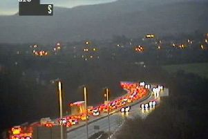 Traffic is slow on the Edinburgh Bypass this evening. Picture: Traffic Scotland/Twitter