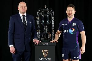 Scotland's Gregor Townsend, left, and Greig Laidlaw were at the Six Nations launch in London. Pic: Getty