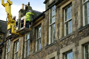 Building repairs in the Grassmarket. Pic: Callum Bennetts