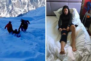 Journalist Angie Brown has told of her terrifying two-hour rescue ordeal after she collapsed in agony on a remote 9,000 ft slope. Picture: Contributed